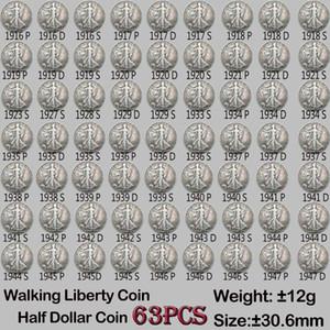 63pcs USA Monedas Conjunto completo Caminar Liberty Copy monedas 30.6mm Diferentes versiones Fecha Monedas Viejas Colores Moneda