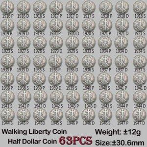 63pcs 30.6mm Moneda Old Set Walking Liberty Coins USA Copia Diferentes Monedas Colores Completas Versiones Fecha PRLBX