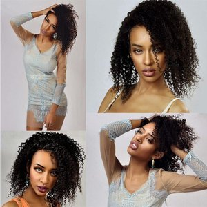 A Kinky Curly Lace Frontal Wigs With Baby Hair Brazilian 100 %Virgin Human Hair 150 %Density Natural Color 8 -28 Inches