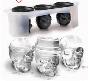 Eco-Friendly Kitchen 3 Skulls Party Bar 3d Silicon Freezer Ice Cube Mold congelata Modulo per vino del cubo di ghiaccio vassoio Ice Cream Stampi Whiskey