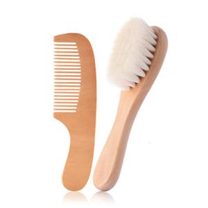 Newborn spazzola e pettine Set setole morbide del pettine della spazzola di legno Infant lana naturale di cura dei bambini corredo della spazzola pettine