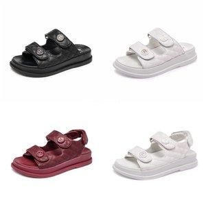 2020 Yaz Burun Kalın Düz Katı Pu Casual Kız Plaj Kadın Floplar Bayanlar ayakkabı Bayan Siyah Kahverengi 34-40 CT1 # 613 Kadın Sandalet Ayakkabı