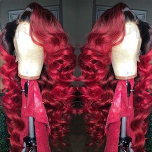 Высокое качество Ombre Burgundy красный свободная волна синтетический парик фронта парики термостойкий волос 360 Lace Фронтальная парики с волосами младенца