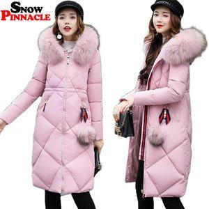 2017 Kış Ceket Kadınlar Sıcak Kalınlaşmak Uzun Kapşonlu Pamuk yastıklı Parkas Nedensel Kadın Big Kürk Ceket Coat M-3XL KAR PINNACLE