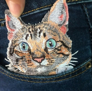 Cat Stickerei Stoff Patches Stickerei Kapitel Dekorative Denim-Stoffe