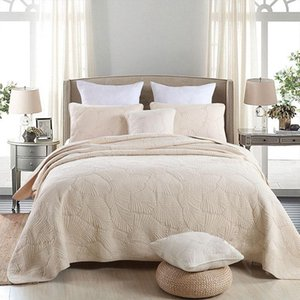 Soft Cotton Bed cover set White Beige Green Pink 3Pcs Bedding sets Queen Double size Quilted Bed spread Sheets Blanket Set T200706