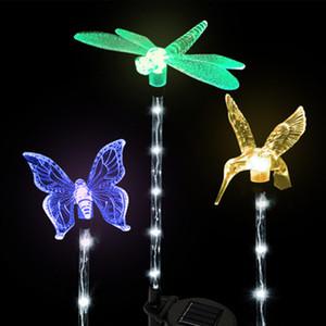 3pcs LED solar lawn lamp garden decorative lights 6LED pole light dragonfly hummingbird butterfly outdoor lighting