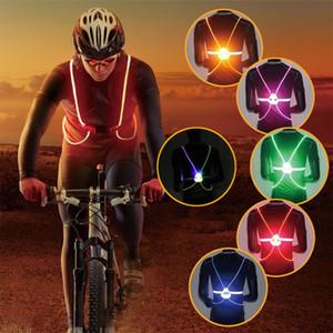 Mounchain Unisex Outdoor Iluminado Reflective ciclismo Vest Belt Luzes LED ajustável Segurança Correndo Camisola de Ciclismo