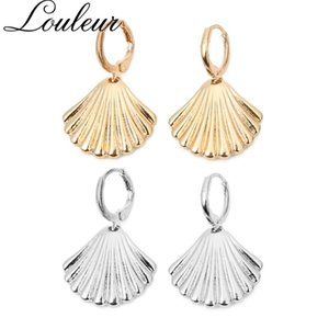 Louleur Bohemian Gold Silver Color Fan-shaped Shell Hoop Earrings for Women Geometric Beach Statement Earring Brincos Jewelry
