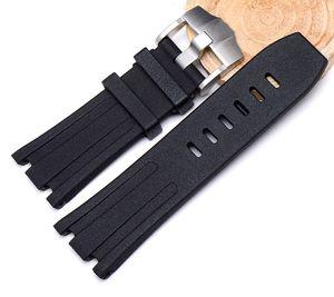 28mm 블랙 방수 자연 고무 실리콘 Watchband 남자 스포츠 시계 스트랩 밴드 AP 시계 Audemars 및 Piguet에 대 한