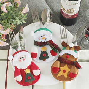 Noel Çatal Çanta Noel Baba Kardan adam Geyik Noel Sofra Süsleri Otel Ana Parti Çatal Çatal Bıçak Çanta