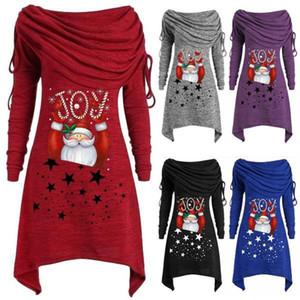 Femmes Noël Csual Robes mode collier irrégulière lambrissé de Noël Imprimer Femmes Robes Designer Femmes Vêtements décontractés