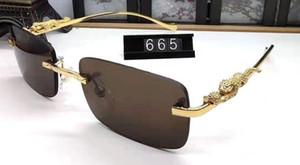 mens delle signore del progettista di bufalo santos corno di occhiali da sole in metallo oro leopardo gambe nero argento marrone lenti lunettes de soleil Occhiali da sole