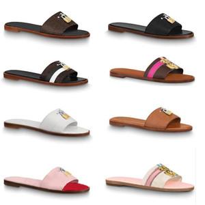 2019 дизайнерские горки женские сандалии тапочки Lock It flat mule роскошные кожаные тапочки для женщин Сандалии навесные 1A5806 Плоские шлепки