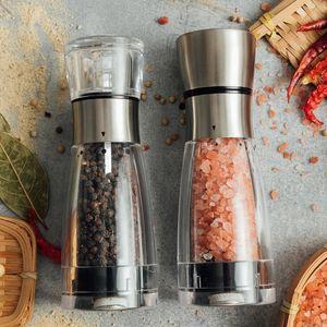 Deux style poivre sel de mer broyeur manuel de cuisine Spice Mill 5 vitesses Position réglable Peper Mill en porcelaine moulins
