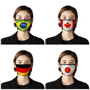 Национального флаг пыл лицо Рот Маска моющихся Респираторы ткань марля ушная Складная Mascherines США Япония Германия 2 7BR UU9