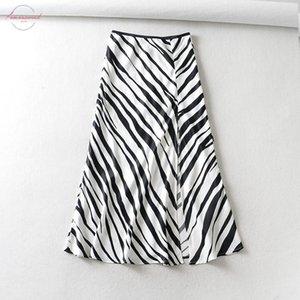2020 New Women Vintage Striped Print Hem Split Midi A Line Skirt Faldas Mujer Ladies Chic Elastic Waist Satin Mid Calf Skirts