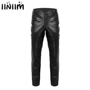 iiniim Erkek Moda Giyim Wetlook PU Deri Slim Fit Kalem Pantolon Sıkı Pantolon Kostüm Moto Biker Gece Clubwear Uzun Pantolon