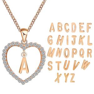 Pretty Kolye A-Z 26 Mektup Adı Güzel Uzun Zincir Kolye Kolye Kadın Kız DIY Lüks Takı Kübik Zirkonya Kalp Kolye