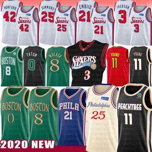 Joel 21 Embiid Ben 25 Simmons Trae 11 Junge Basketball Jersey Kemba 8 Walker Jayson 0 Tatum Allen Iverson 3 Al 42 Horford NCAA Männer