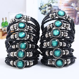 Jewelry Punk Constellation Zodiac Signs Bracelet Hematite Beaded Snap Button Clasp Braid Black Leather Wristband Bracelets Men