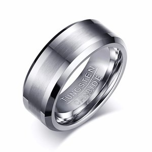 8MM Classic Look Tungsten Carbide Matte Men's Ring in Silver Tone Wedding Band Comfort fit Anel Aneis Male Jewelry