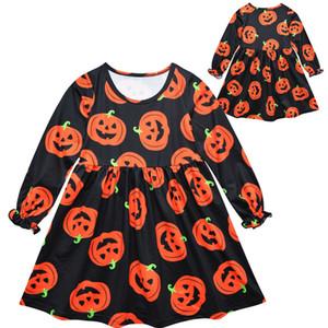 Ins neonate vestiti per il partito di Halloween Abbigliamento zucca fantasma vestito lungo dal manicotto della principessa Dress Skirt Bambini Autunno Clothes C9308