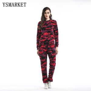 YSMARKET Женщины 2 шт комплект одежды Tracksuit 2 Piece Set Камуфляж толстовка + длинные брюки костюм одежда A0180