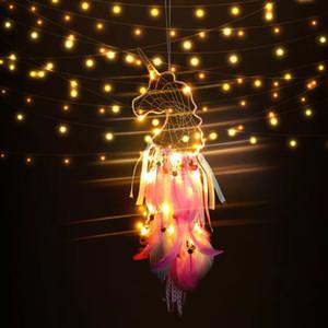 Unicornio Dreamcatcher Colgante LED Wind Chimes Colgante de plumas Dream Catcher Creativo Coche Colgando Craft Deseo Regalo Artículos de la novedad GGA2159