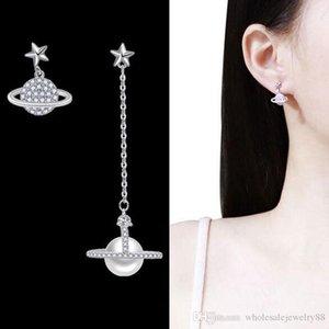 Wholesale Asymmetry Satellite Tassel Dangle Drop EarringsCrystal Pearl Eardrop 925 Silver Needle Earring Women Party Jewelry Gift