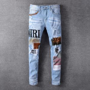 2020 En Kaliteli Amirl Jeans # 614 Ünlü Marka Tasarımcı Lüks Jeans Erkek Moda Sokak Giyim Erkek Biker Jeans Man Popüler Hip Hop Pantolon