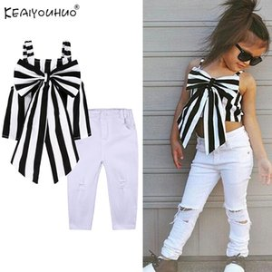 KEAIYOUHUO 2020 Summer Girls Clothes Sets Short Sleeve Children Clothing Girl Outfits Suits T-Shirt+Jeans 2pcs Kids Clothes Sets T200629