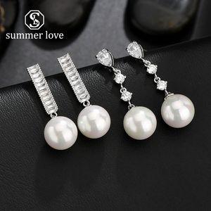 Mode Linear Copper Inlay Cubic Zirconia Big Pearl Dangle Earrings Platinum Plated Teardrop Wedding Boucles D'oreilles Élégantes pour Bijoux Mariées