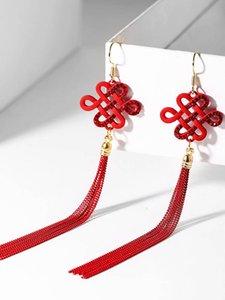 2019 Red cinese di stile cinese di stile etnico Felice nodo orecchini per i monili femminili delle donne Matrimonio Orecchini Festival Clip con
