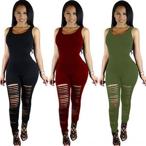 Autumn Fashion New Women Clothing Jumpsuit Casual Sleeveless Women's Jumpsuits & Rompers Women's Clothing Bodycon Slim Skinny Destroyed Jump