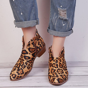 2019 Fashion Cross-border new leopard large size thick wit female Europe and the United States side zipper with pointed boots and bare boot