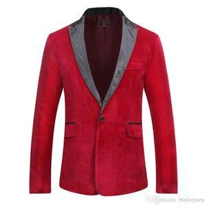 Con paneles de ante del diseñador del Mens chaquetas de manga larga botón único sólido Blazer Hombre Otoño Invierno Ropa