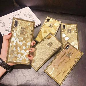 Luxuxgold quadratisches Metall Rivet Glänzend Girly Kasten für iPhone 11 Pro XR XS MAX X 8 7 6 Samsung S8 S9 S10 Plus-S10e Hinweis 9 10 10 + S20 ultra