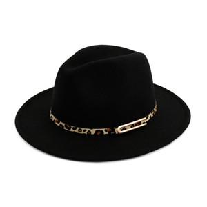 Fashion-Cappello Fedoras Lana Feltro tesa larga Jazz Fedora cappelli per le donne Trilby Derby Cappello Giocatore con Leopard Print Leather Buckle