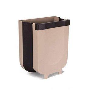 9L de basura montado en la pared plegable Cubo de la basura del gabinete de cocina puerta colgando Papelera Papelera de basura coche puede montado en la pared plegable de limpieza