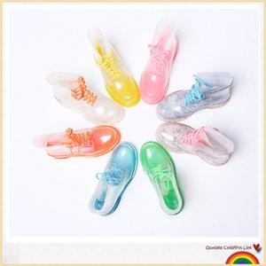 ПВХ прозрачные женские красочные кристально чистые квартиры каблуки водные туфли женские Rainboot Martin Rain Boots