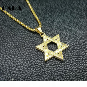 hip hop necklace Men's High Quality Six-Pointed Jewish Star of David Pendant Necklace Stainless Steel gold 3mm 27'' Rolo Chai