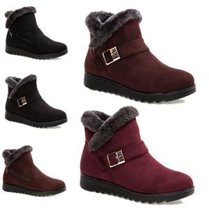 2020 não marca o envio gratuito de botas de inverno mulheres neve botas de tornozelo Triplo Preto Vinho Tinto Brown Suede Shoes mãe Keep Warm 36-40 Estilo 39