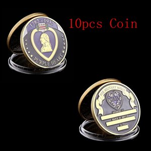 10PCS الولايات المتحدة الأمريكية 1782-1932 القلب الأرجواني مكافأة العليا العسكرية الجندي ميدالية مطلية بالذهب تحدي عملة الفن النادرة لوط