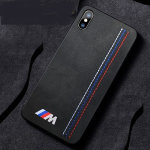 Luxo macio virar pele bordado bmw motorsport sport car case para iphone xs max 11 pro max xr x 8 7 6 plus