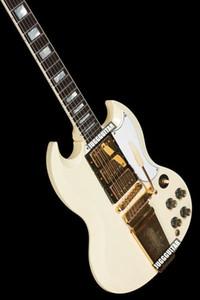 1963 SG Custom Yeniden Klasik Beyaz Elektro Gitar Uzun Versiyon Maestro Vibrola Kuyruk Harpe Logo, 3 Humbucker Transfer, ABR-1 Köprüsü