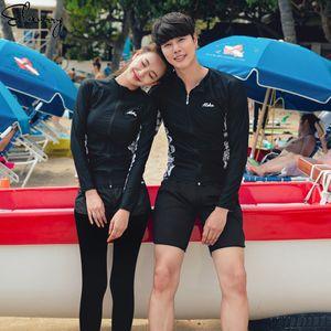 Mulheres Summer Surfing Ternos mangas compridas Homens Licras 2020 Beach Wear Femmale Swimwear Suits novo casal banho Maillot