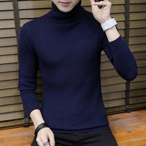 Mens Warm Turtleneck sweater men hombre Knitted Mens Sweaters Casual Slim Pullover Male Double Collar Tops pull homme