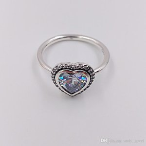 Authentic 925 Sterling Silver Rings Sparkling Love Ring Fits European Pandora Style Jewelry