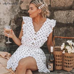 Casual Mnealways18 mangas Polka Dot vestido de las mujeres del volante con cordones de primavera y verano señoras de volantes vestido de Negro Blanco vestidos estampados